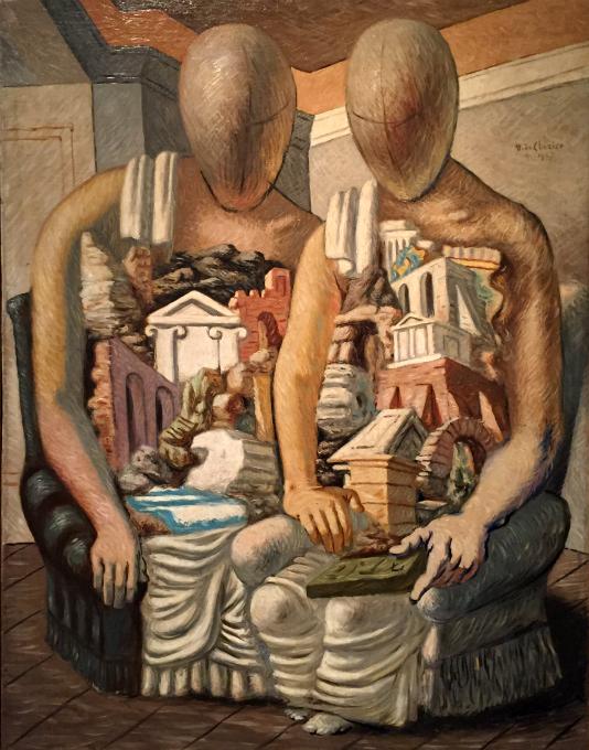 Los arqueólogos, pintura al óleo sobre tela, obra de Giorgio de Chirico