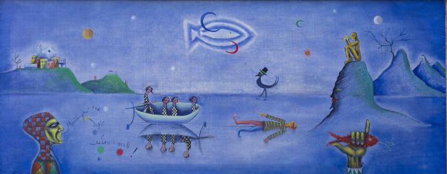 Nocturn, 1950 es una pintura de Joan Ponç que representa un mundo mágico creado para dialogar consigo mismo